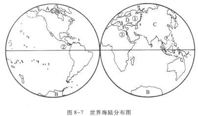 读世界海陆分布图(图8-7),完成下列要求