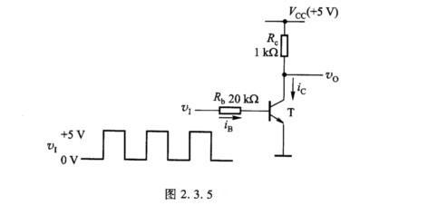 bjt管开关电路和电路的输入波形如图2.3.5所示.已知β=50,vbe=0.