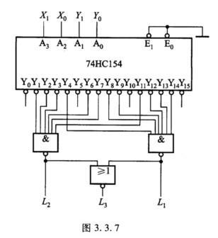 由4线一16线译码器74hcl54构成电路如图3.3.