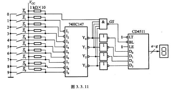 3.11所示电路的功能.该电路由优先编码器74