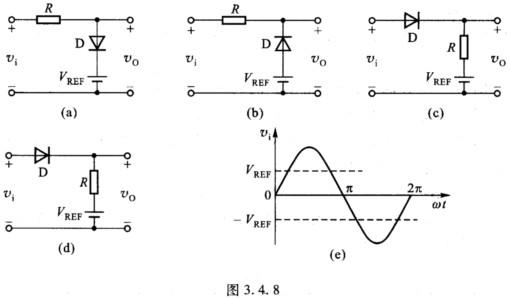 8所示的各限幅电路中,设二极管是理想的