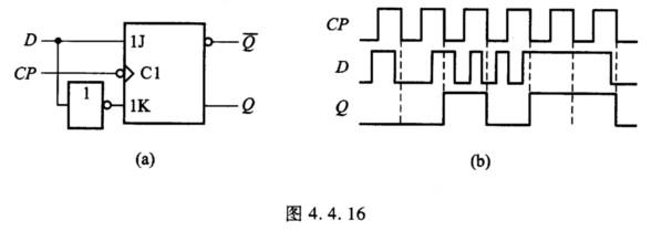 4.16(a)所示ttl主从d触发器,在图(b)所示cp