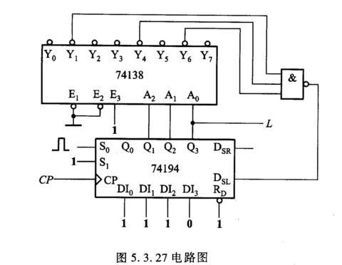 由移位寄存器74hcl94和3线-8线译码器74hcl38组成的电路如图5.3.