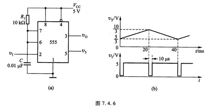 由555定时器组成的单稳态电路如图7.4.