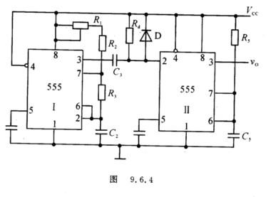 4为两片555定时器构成的频率可调,而脉宽不变的