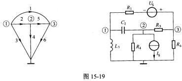 正弦交流电路及其拓扑图如图15.19所示,电源角