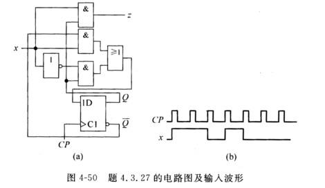 分析图4-50(a)所示同步时序电路.