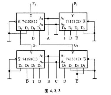 用双4选1数据选择器构成的逻辑电路如图4.2.