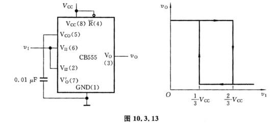 由555定时器构成的施密特触发器如图10.3.13所示,试求