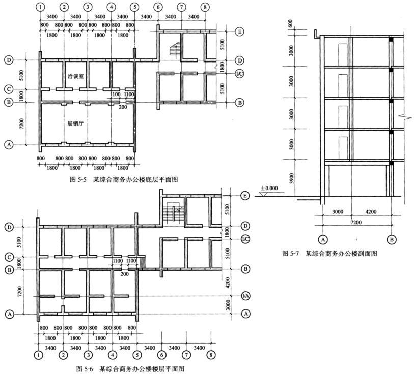 某五层综合商务办公楼,底层为展销大厅和商业用房,上面各层为办公用房,楼、屋面板采用预应力空心板,屋面采用40mm厚配筋细石混凝土面层、20mm厚石灰砂浆隔离层、煤渣混凝土垫层找坡(2%)。由于展销大厅需设计为大统间,上部部分横墙不能落地,故这部分横墙采用墙梁结构。房屋底层和楼层平面见图5-5、图5-6,剖面图见图5-7,且属刚性方案建筑。试设计该墙梁。