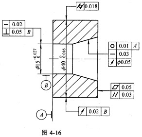 标注图4.16中形位图纸自控的错误,并改正加以公差指出图片