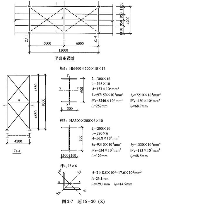 题16~20:某皮带运输通廊为钢平台结构,采用钢支架支承平台,固定支架未示出。钢材采用Q235-B钢,焊接使用E43型焊条,焊接工字钢翼缘为焰切边,平面布置及构件如图2-7所示。图中长度单位为mm。  梁1的最大弯矩设计值Mmax=507.4kN.m,考虑截面削弱,取Wnx=0.9Wx试问,强度计算时,梁1最大弯曲应力设计值(N/mm2)与下列何项数值最为接近?