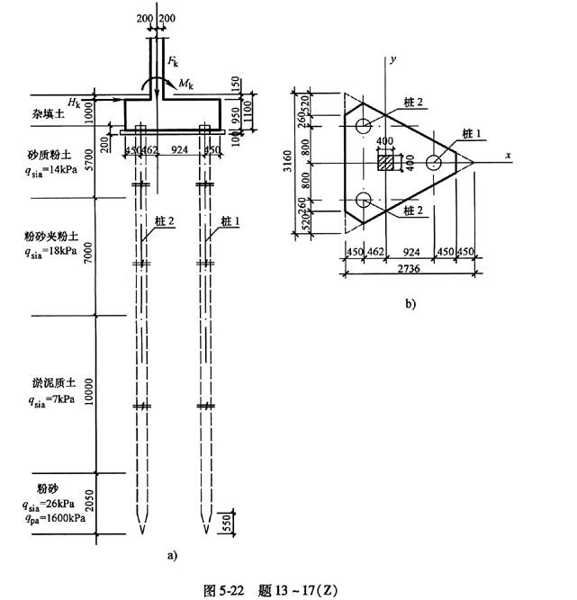 题13~17:有一等边三桩承台基础,采用沉管灌注桩,桩径为426mm,有效桩长为24m。有关地基各土层分布情况、桩端端阻力特征值qpa、桩侧阻力特征值qsia及桩的布置、承台尺寸等如图5-22a、b所示。  按《建筑地基基础设计规范》GB500072002的规定,在初步设计时,估算该桩基础的单桩竖向承载力特征值Ra(kN),并指出其值最接近于下列何项数值? A.361 B.645 C.665 D.950