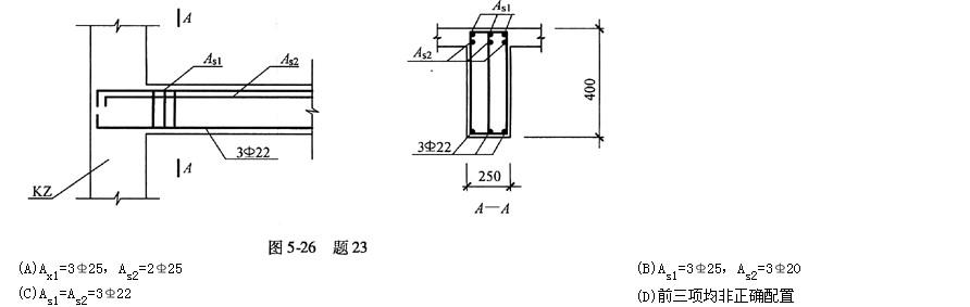 某框架结构抗震等级为一级,混凝土强度等级为C35,钢筋采用。框架梁h0=340mm,其局部配筋如图5-26所示。根据梁端截面底面和顶面纵向钢筋截面面积的比值和截面受压区高度,试判断下列关于梁端纵向钢筋的配置,并指出其中何项是正确的配置?  A. B. C. D.