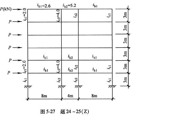 题24~25:某6层钢筋混凝土框架结构,其计算简图如图5