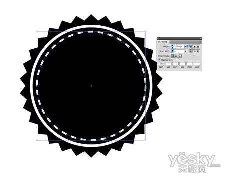 在画笔面板(stroke  palette)上,稍微降低圆圈的重量,然后选择虚线