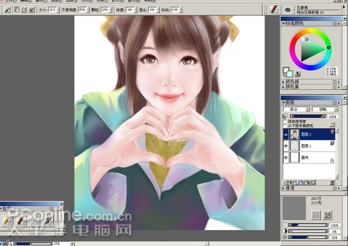 painter实例手绘教程:打造超级女生过程