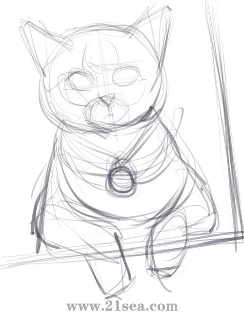 如何画小猫素描 步骤