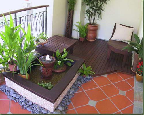 阳台花园设计小露台花园设计效果图,舒适的环境.