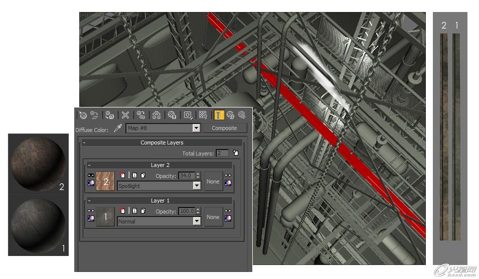 3ds max打造矿井机械材质贴图