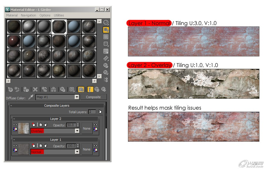 教程将为FEVTE的朋友们讲解矿井场景中的的金属质感和复合贴图的制作过程。 尽管看起来整个场景中是由非常多的几何体组成的,但场景的制作过程仍属于比较简单之列,这是因为整个场景仅由有限数量的部件组成。本场景的制作重点为场景中心左侧的两个管道。左上部分的