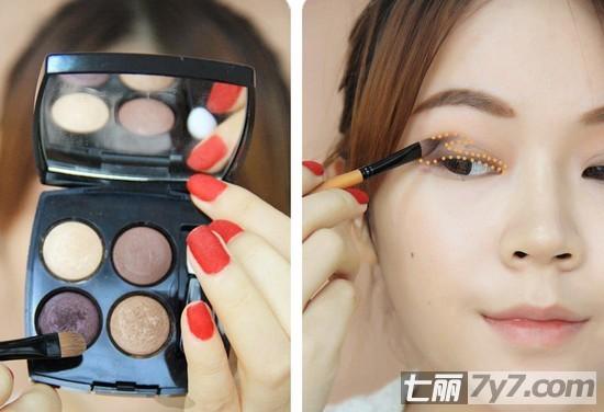大地色眼影画法 打造魅惑大眼圣诞节妆容
