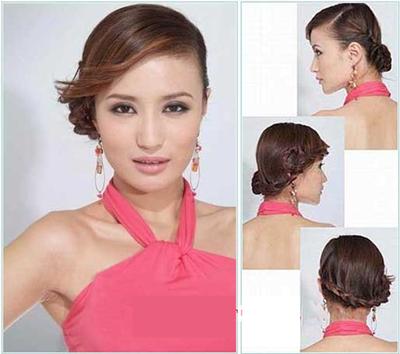 韩式新娘发型图解一,复古风格发辫