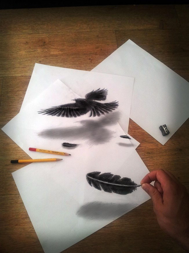 极富才华艺术家的立体铅笔画