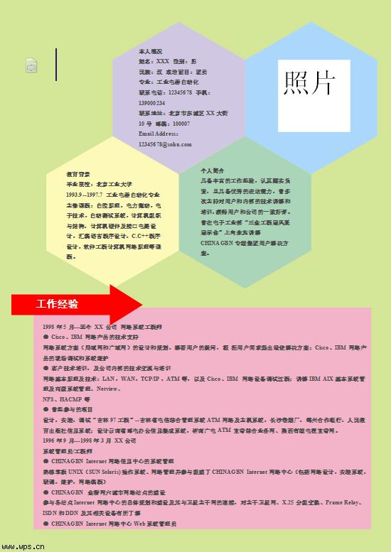 分类导航 管理/营销/职场 简历攻略 简历模板 > 六角结构图简历模版