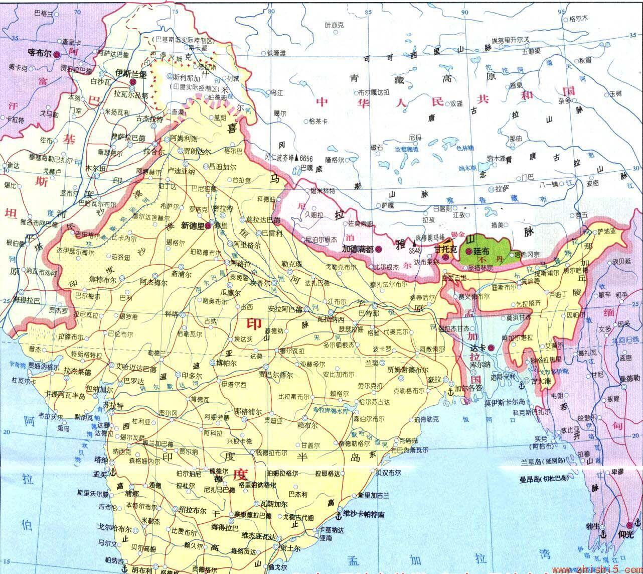 印度中文地图 印度地图中文版
